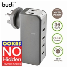 Budi 36W 7.2A 6 x USB Charger with 918-Joule Surge Protect & Swivel UK