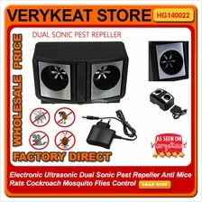 Dual Sonic Pest Repeller Anti Rats Cockroach Mosquito Flies Control