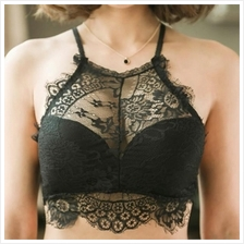 High Neck Eyelash Lace Bralette