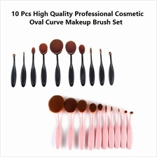10 Pcs High Quality Professional Cosmetic Oval Curve Makeup Brush Set