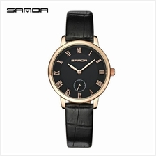 SANDAP187 Genuine Leather Black Date Display Watch Women (BlackGold)