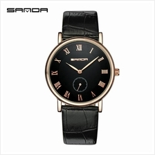 SANDAP187 Genuine Leather Black Date Display WatchMen (Black Gold)