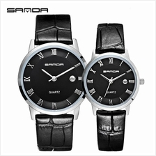 SANDA P188L Genuine Leather Black Date Display Watch Couple(BlackSilv)