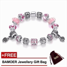 BAMOER 925S Silver Charm Bracelet with Pink Murano Glass Beads PA1393