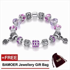 BAMOER 925SSilver Charm Bracelet with Purple Murano Glass Beads PA1395