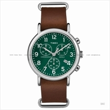 TIMEX TW2P97400 (M) Weekender Chrono Slip-Thru leather green brown