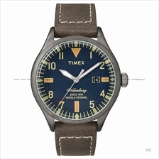 TIMEX TW2P83800 (M) The Waterbury date leather strap blue brown