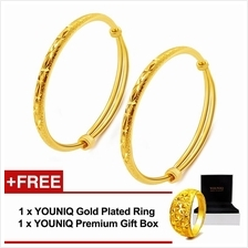 YOUNIQ Premium Slim Classical 24K Gold Plated 2 Units Bangle Free RING
