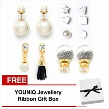 YOUNIQ-Basic Korean 9 in 1 Crystal Ball Tassel Geo Pearl Mix Earrings