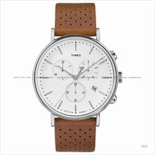 TIMEX TW2R26700 (M) The Fairfield Chronograph leather strap white tan