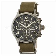 TIMEX TW4B04100 (M) Expedition Scout Chrono slip-thru leather green