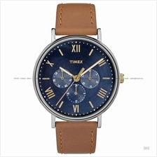 TIMEX TW2R29100 (M) Southview multifunction leather strap blue tan