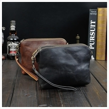 Men Double Compartments PU Leather Small Shoulder Sling Clutch Bag