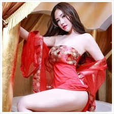 Red Lace Chinese Costume Babydoll Dress + Robes Sleepwear S216
