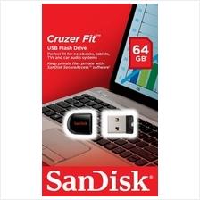 SANDISK 64GB CRUZER 33 FIT USB2.0 FLASH DRIVE (SDCZ33-064G-B35) BLK