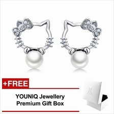 YOUNIQ Pearly Kitty 925 Sterling Silver Earrings