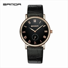 SANDAP187 Genuine Leather Black Date Display Quartz WatchMen (Black Go