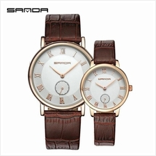 SANDA P187 Leather Brown Date Display Quartz Watch Couple-WhiteGold