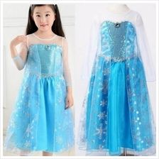 Frozen Elsa Sequins Girl Dress Concert Costume *FREE TIARA*)