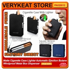 Cigarette Rokok Case Lighter Auto Ejection Butane Windproof Metal Box