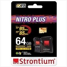 STRONTIUM TF HC10 NITRO PLUS 64GB (95MB/S) WITH CARD READER MEMORY CAR