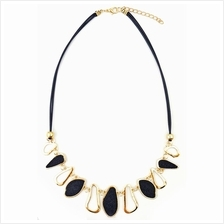 YOUNIQ-Basic Eve Diamante Black Geometric Statement Necklace