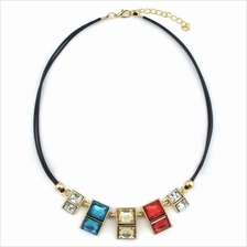 YOUNIQ-Basic Cube Colorful Gemstone Geometric Statement Necklace