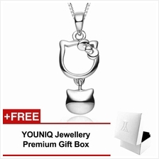 YOUNIQ Kitty Bell 925 Sterling Silver Necklace Pendant with CZ