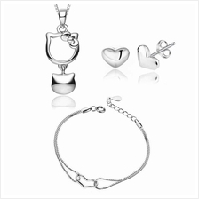 YOUNIQ KittyBell 925 Sterling Silver Pendant CZ & Earrings Bracelet