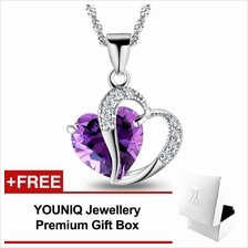 YOUNIQ Lavender Love 925 Sterling Silver Necklace Pendant Purple CZ