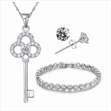 YOUNIQ Untold 925 S.S Key with C.Zirconia Necklace, Earrings &Bracelet