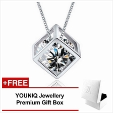YOUNIQ Cube 925 Sterling Silver Necklace Pendant with CZ (White)