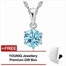 YOUNIQ Hexa 925 Sterling Silver Necklace Pendant Cubic Zirconia(Blue)