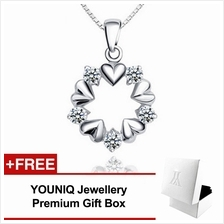 YOUNIQ Surrouned Love 925 Sterling Silver Necklace Pendant with CZ
