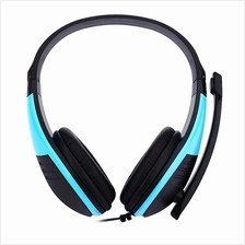 FE - 118 3.5MM PLUG COMPUTER GAMING HEADSET STEREO HEADPHONES (BLUE)