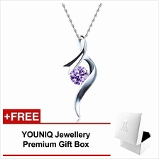 YOUNIQ Ribbon 925 Silver Necklace Pendant Cubic Zirconia (Purple)
