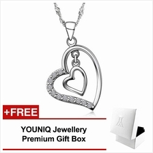 YOUNIQ Heart to Heart 925 Sterling Silver Necklace Pendant with CX