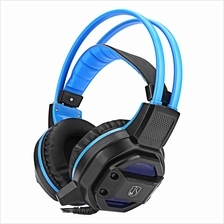 GX1 ANTI-NOISE STEREO 3PCS 3.5MM USB PLUG GAMING HEADSET (BLUE)