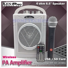 KENPRO Portable Wireless PA Amplifier with USB  & SD Card Player