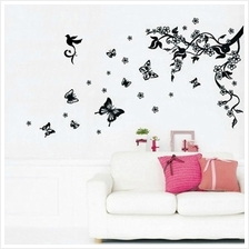 BUTTERFLIES VINE HOME DECORATION STICKERS (BLACK)