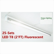 (25-Sets) - T8 (2'FT) LED Fluorescent Tube with fitting (18watt) 6500k Dayligh