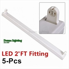 (5pcs) LED T8 (2'FT) - Fluorescent Fitting Only / White