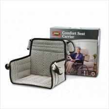 Comfort seat carrier transfer from wheelchair into car or hospital bed