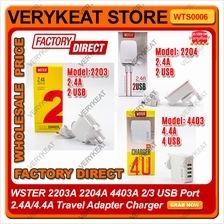 WSTER 2203A 2204A 4403A 2/3 USB Port 2.4A/4.4A Travel Adapter Charger