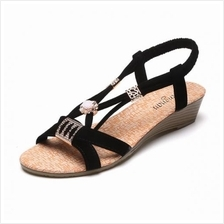 Women Casual Beads Fish Mouth Sandals Shoes (Black/White) MT021467