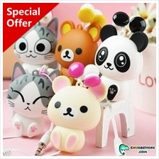 Cute cartoon retractable cord earphone-Chi's cat/Rilakkuma bear/panda