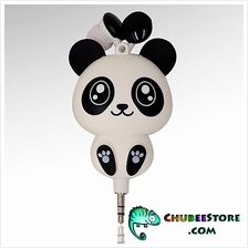 Cute cartoon retractable cord stereo music in-ear earphone-panda