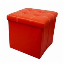 PU Folding Storage Ottoman Cube / Space Organizer / Stool / Foldable Chair - R