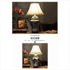 531012133287 hand painted blue and white classic table lamp
