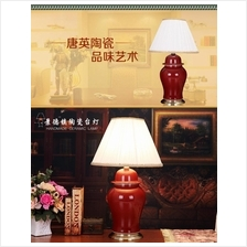 521502343806 simple ceramic red lamp with bronze gold base
